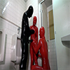 Rubber Enclosure Fetish ~ Rubber Training in Rubber 3P Public Toilet ~